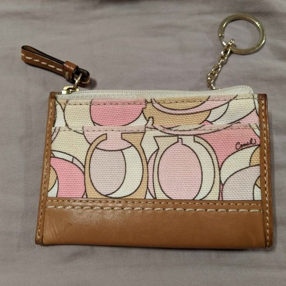 Coach Card and Coin Holder ( pink )